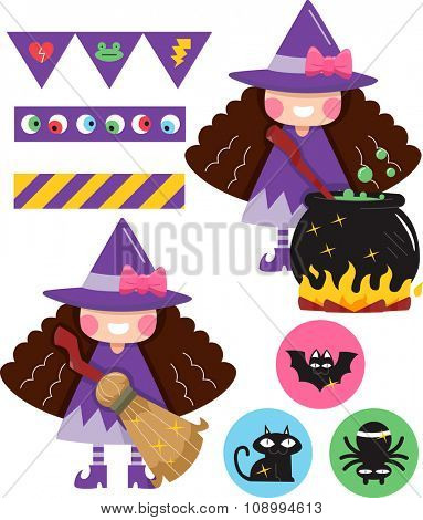 Grouped Illustration of Party Elements with a Witchcraft Theme