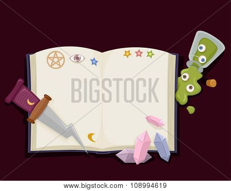 Illustration of a Witchcraft Book Surrounded by Witchcraft Tools