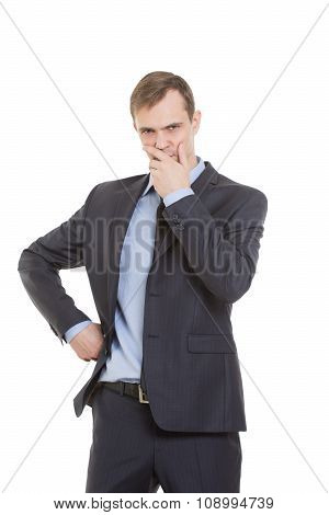 gestures distrust lies. body language. man in business suit isolated on white background. hand close