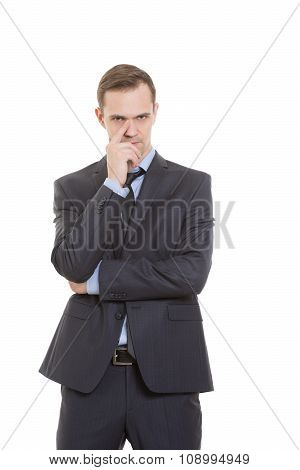 gestures distrust lies. body language. man in business suit isolated on white background. finger tou