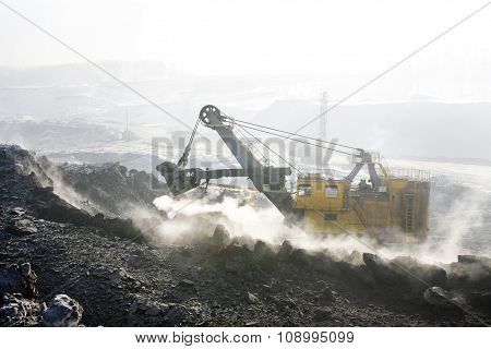 Mine excavator at work