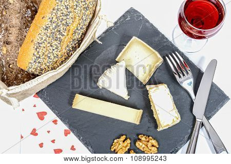 Cheese Platter With A Glass Of Red Wine