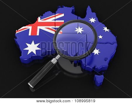 Map of Australia with loupe