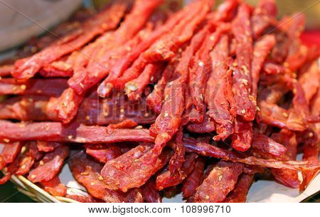 Strips Of Flesh Very Spicy Called Coppiette Typical Culinary