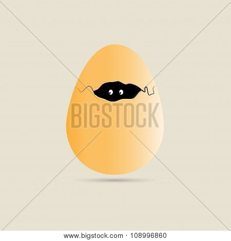 Cracked Egg With Eyes