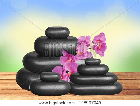 Black Spa Stones And Pink Orchid On Wooden Table Over Nature Background