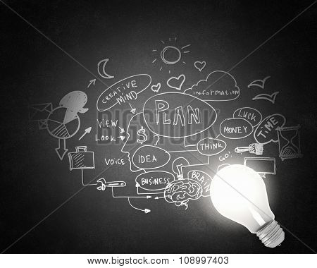 Glowing glass light bulb and business sketches at concrete background