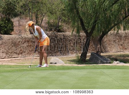Ladies Pro Golfer Carly Booth Preparing Long Put Shot On November 2015 In South Africa