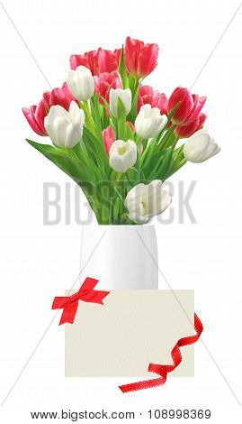 Bouquet Of Pink And White Tulips In Vase And Card Isolated On White Background