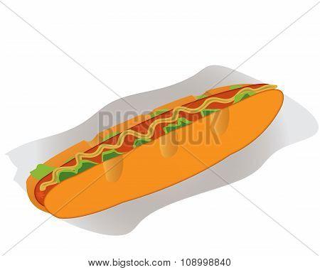 Hot Dog On A Paper Napkin
