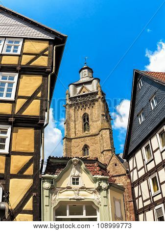 Historical center with town church in Bad Wildungen, Germany