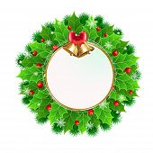 Постер, плакат: Christmas Wreath With Holly Berry And Christmas Decoration