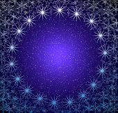 stock photo of christmas star  - christmas blue snow frame - JPG