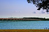 picture of bribie  - the famous bridge to bribie island in australia