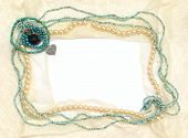 foto of vintage jewelry  - Frame of lace and jewelry - JPG
