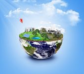Постер, плакат: Eco Friendly Green Energy Concept Solar Energy Town Wind Energy Dirty City Factories Air Pollu