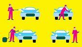 Car wash illustration poster