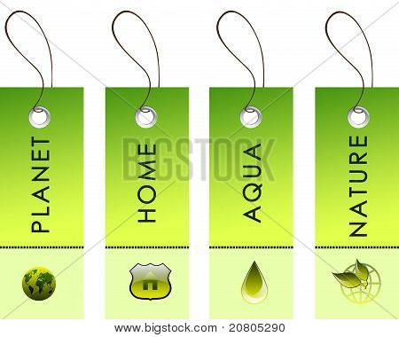 green labels with nature symbols