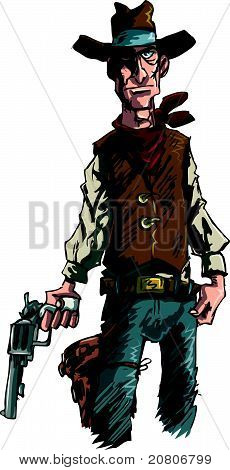 Ilustração de vaqueiro intensa com uma arma de seis