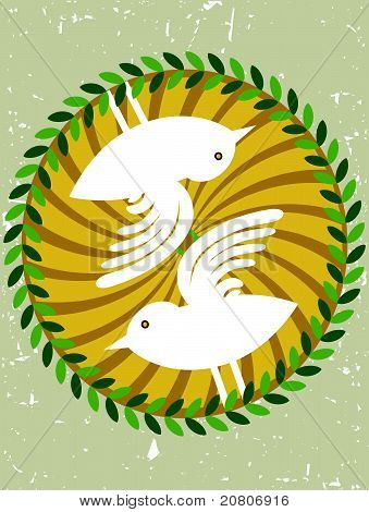 Abstract white birds inside swirl circle garland