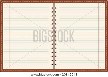 Pages of ruled notebook paper - page curl