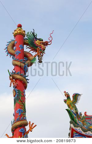 Chinese  Dragon And  Bird