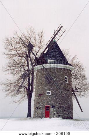 Windmill In Winter
