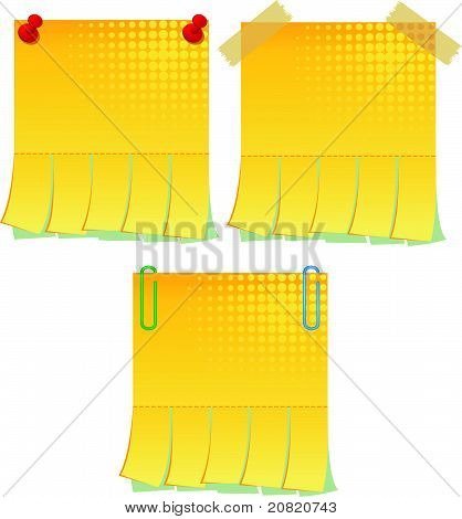 Yellow blank advertisement with cut slips. Vector