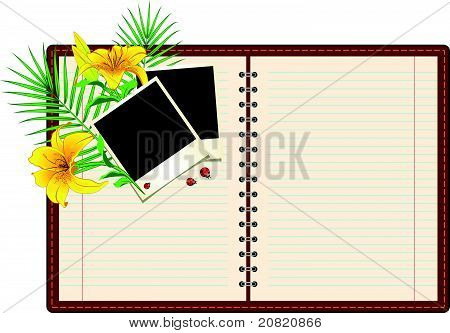 Notebook paper instant photo and flowers