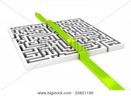 Labirinth com seta sobre fundo branco