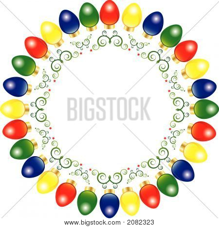 A Wreath Of Bright And Colorful Vector Christmas Lights