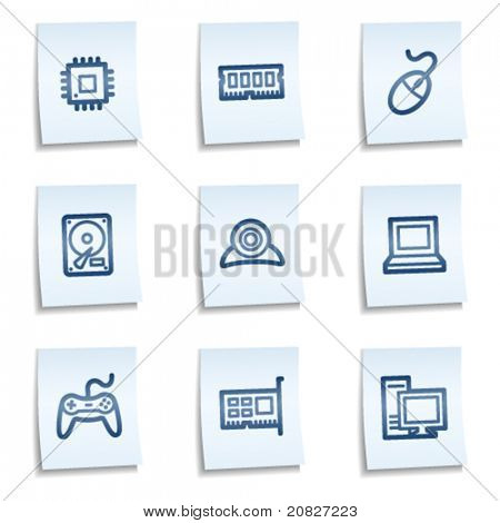 Computer web icons, blue notes