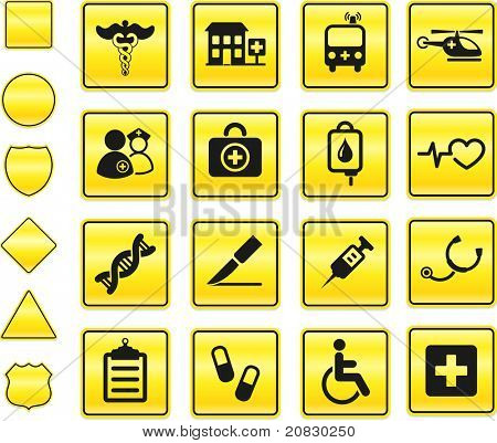 Medical Icon on Yellow Sign Button Collection Original Illustration