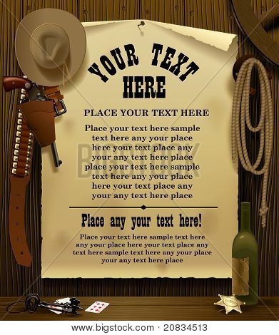 Vector illustration with a Wild West Relay Poster in the environment of cowboy accessories on the wood wall background