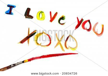 I love you and XOXO written with paint of different colors on a white background