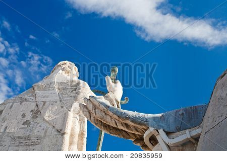 Back Side Of Statue On Roof Of St. Peter's Basilica In Vatican