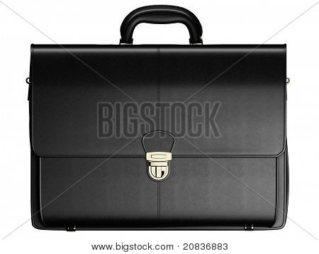 Black leather business briefcase isolated on white background