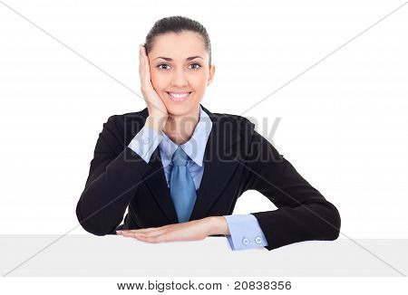Businesswoman Showing Billboard
