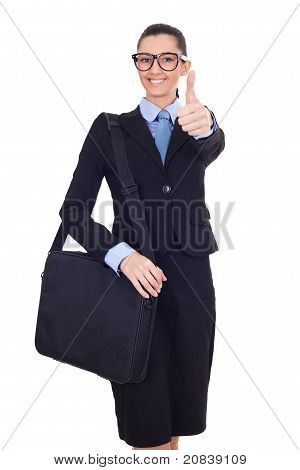 Business Woman With Briefcase Giving Thumbs Up