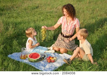 Mother With Child On Picnic