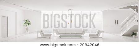 White Interior Of Modern Apartment Panorama 3D Render