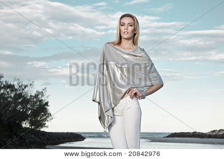 Beautiful Woman On Beach