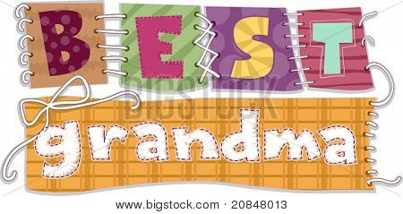 Illustration of Patches That Spells the Words Best Grandma