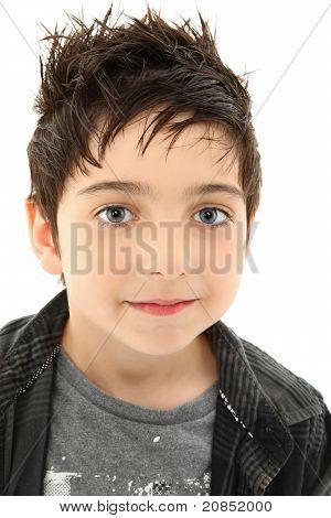 Close Up Boy With Hazel Eyes