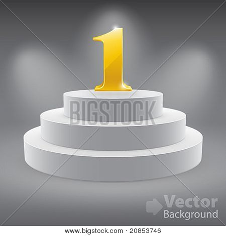 3d isolated Empty white podium on gray background with first place. Vector illustration.