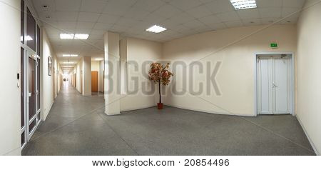 Empty Office Building Corridor