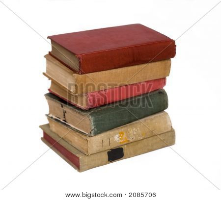 A Pile Of Aged Antique Books