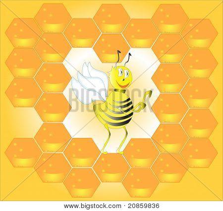 Bee in honeycombs.