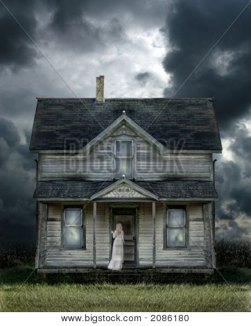 Ghost On Porch In A Storm