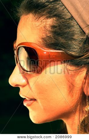 Beautiful Woman With Dark Glasses